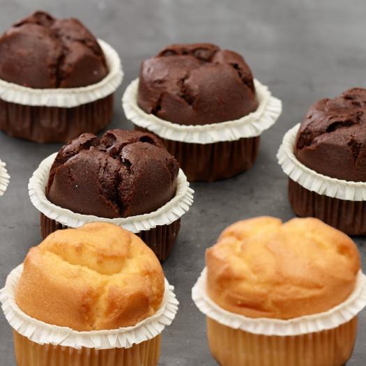 Actie! 4 vanille muffins + 4 chocolade muffins